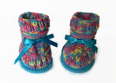 Rainbow Booties, hand knitted booties by StarBaby Designer Knitwear, www.starbabyknitwear.com