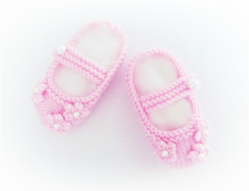 Pink Baby Shoes, Flower Shoes, hand knitted booties by StarBaby Designer Knitwear, www.starbabyknitwear.com