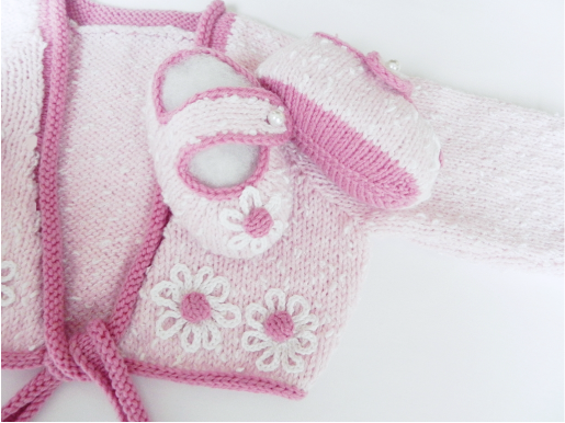 Baby Pink Cardigan and matching Slippers set by StarBaby Knitwear, www.starbabyknitwear.com