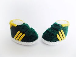 Baby Green Gazelles, Adidas style booties, hand knitted booties by StarBaby Designer Knitwear, www.starbabyknitwear.com