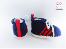 Baby Trainers, hand knitted booties by StarBaby Designer Knitwear, www.starbabyknitwear.com
