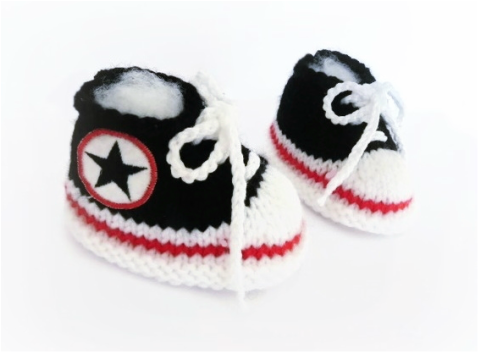 Baby Sneakers, Converse booties, hand knitted booties by StarBaby Designer Knitwear, www.starbabyknitwear.com