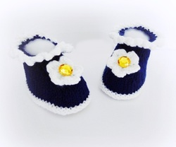 Daisy Booties, Navy Booties, hand knitted booties by StarBaby Designer Knitwear, www.starbabyknitwear.com